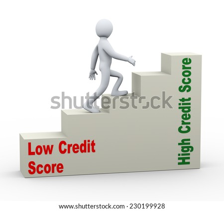 3d illustration of person walking on growing credit score progress bars. Concept of having good and high credit score. - stock photo