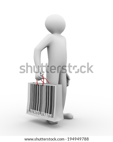 3d illustration of person with barcode shopping bag. 3d human person character and white people - stock photo