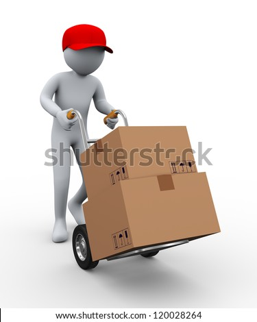 3d illustration of person with hand truck carrying cardboard boxes. 3d rendering of people -human character. - stock photo