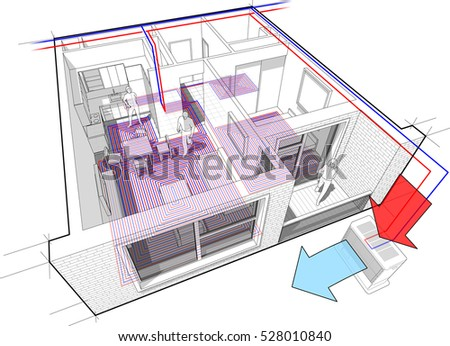 3d illustration of Perspective cutaway diagram of a one bedroom apartment completely furnished with underfloor heating and air source heat pump with central heating system as source of heating energy