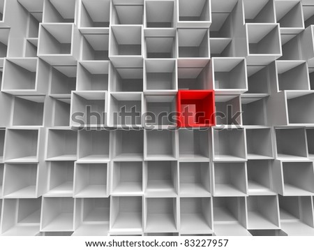 3d illustration of perspective of lot of empty white and red box - stock photo