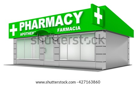 3D Illustration of pharmacy store isolated on white