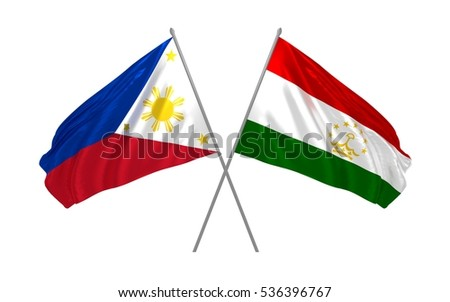 3d illustration of Philippines and Tajikistan crossed state flags waving