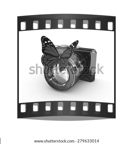 3d illustration of photographic camera and butterfly on white background. The film strip - stock photo