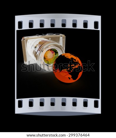 3d illustration of photographic camera and Earth on black background. The film strip - stock photo