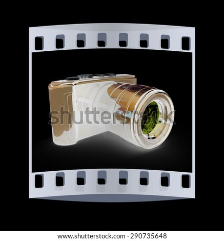 3d illustration of photographic camera on black background. The film strip - stock photo
