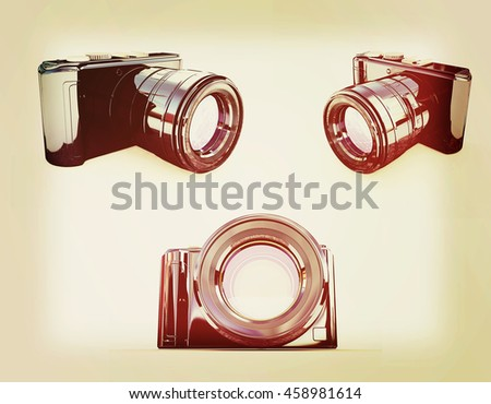 3d illustration of photographic camera on white background. 3D illustration. Vintage style. - stock photo