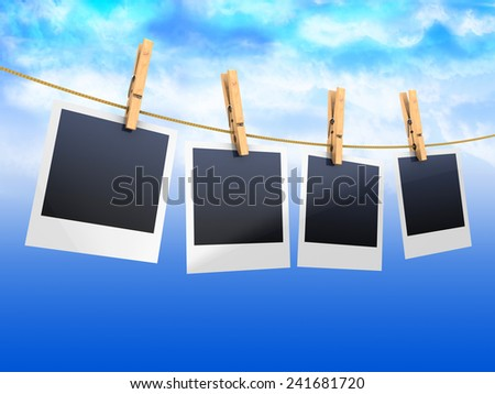 3d illustration of photos on rope, over sky background - stock photo