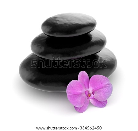 3d illustration of pink orchid and zen stones isolated on white background - stock photo