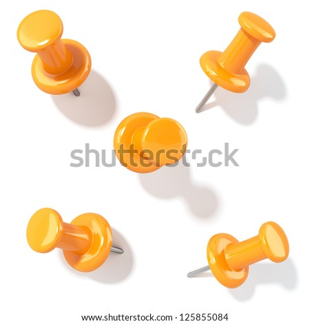3d illustration of pins with shadow. Different view isolated - stock photo