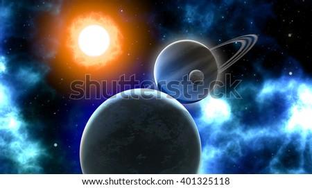 3d illustration of planets orbiting a sun. - stock photo