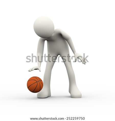 3d illustration of player man playing basketball  3d human person character and white people - stock photo
