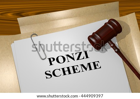 "3D illustration of ""PONZI SCHEME"" title on Legal Documents. Legal concept."