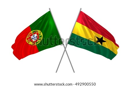3d illustration of Portugal and Ghana flags waving