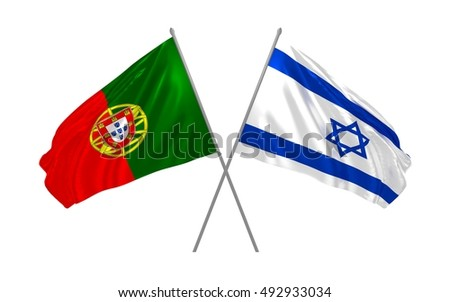 3d illustration of Portugal and Israel flags waving