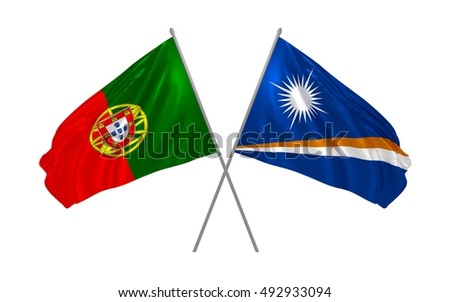 3d illustration of Portugal and Marshall Islands flags waving