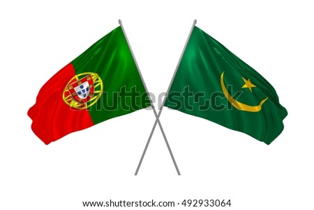 3d illustration of Portugal and Mauritania flags waving