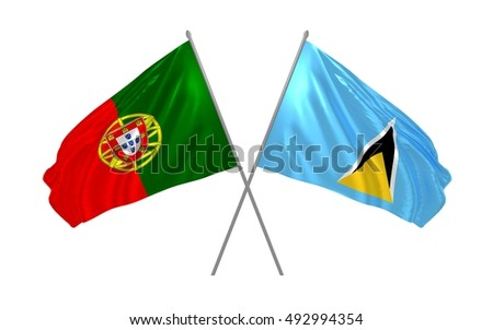 3d illustration of Portugal and Saint Lucia flags waving