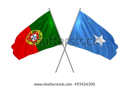 3d illustration of Portugal and Somalia flags waving