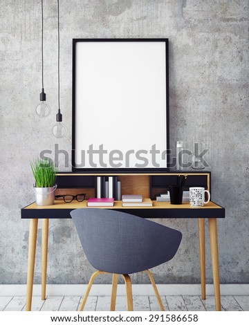 3D illustration of poster frame template, workspace mock up, background - stock photo