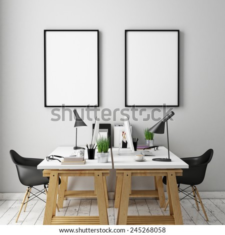 3D illustration of poster frames template, workspace mock up, background - stock photo