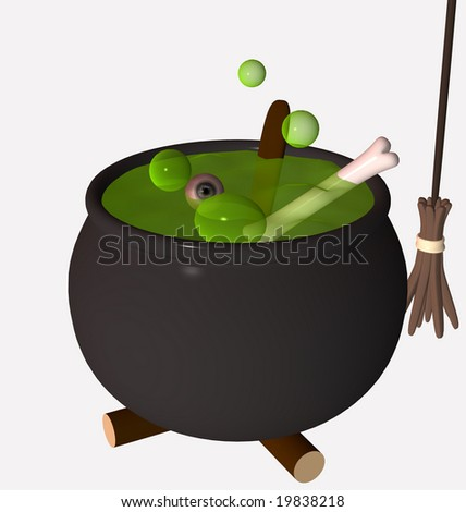 3d illustration of potion brewing with bone and eye in a pot and a withes broom - stock photo