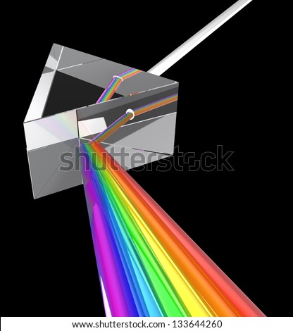 3d illustration of prism with spectrum - stock photo