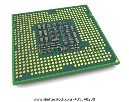 3d illustration of processor bottom view