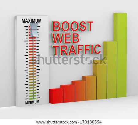 3d illustration of progress bar and mixer button set at maximum to boost web traffic