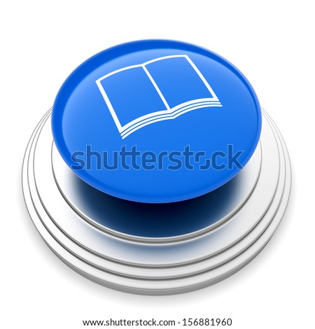 3d illustration of push button with book sign. Isolated on white backgroud - stock photo