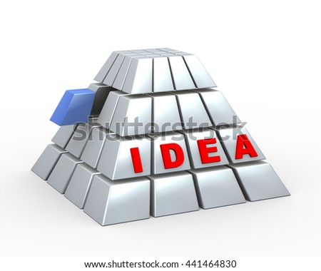 3d illustration of pyramid design made of cubes with blue unique piece and word idea. concept of teamwork, success, uniqueness, creativity. - stock photo