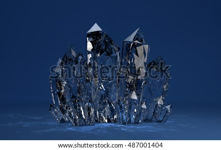 3D illustration of Quartz crystals growing on blue backgrownd