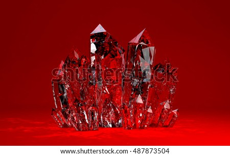 3D illustration of Quartz crystals growing on red backgrownd