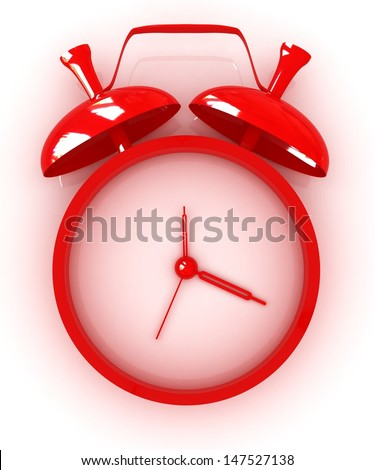 3D illustration of red alarm clock icon  - stock photo