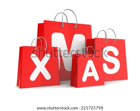 3d illustration of red bags, Christmas shopping concept - stock photo