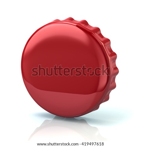 3d illustration of red bottle cap isolated on white background - stock photo