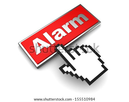 3d illustration of red button with label 'alarm' over white background