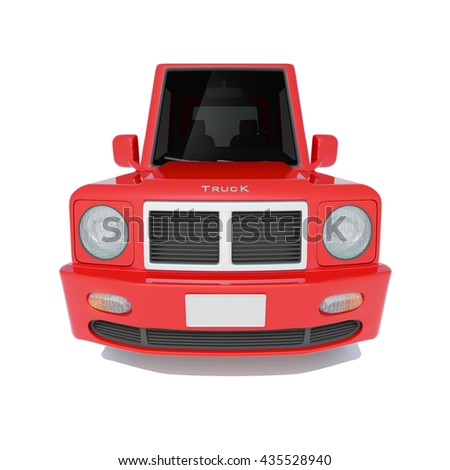 3d illustration of red cartoon car pick-up truck isolated on white