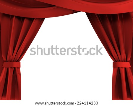 3d illustration of red curtains opened over white background - stock photo