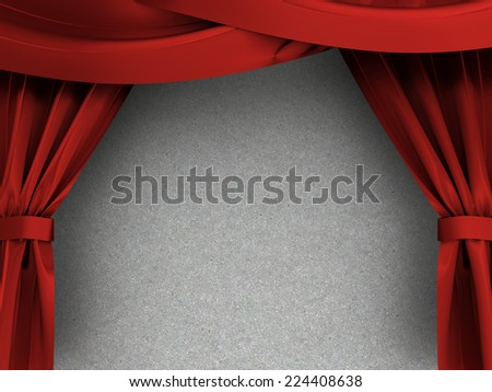 3d illustration of red curtains over concrete texture - stock photo