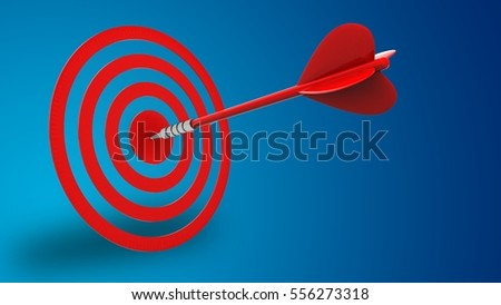 3d illustration of red dart with circles target over blue background