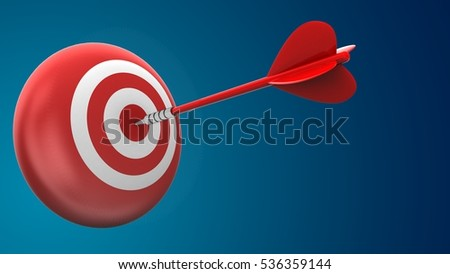 3d illustration of red dart with target sphere over blue background