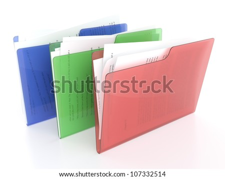 3D illustration of red, green and blue file icons on white background - stock photo