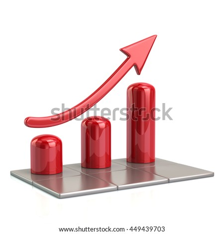 3d illustration of red growing graph icon isolated on white background