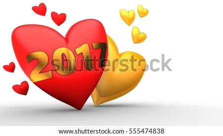 3d illustration of red heart over white  background with orange and red hearts and 2017 year sign