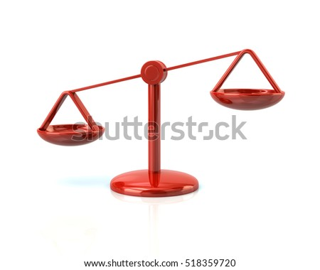 3d illustration of red justice scales icon isolated on white background