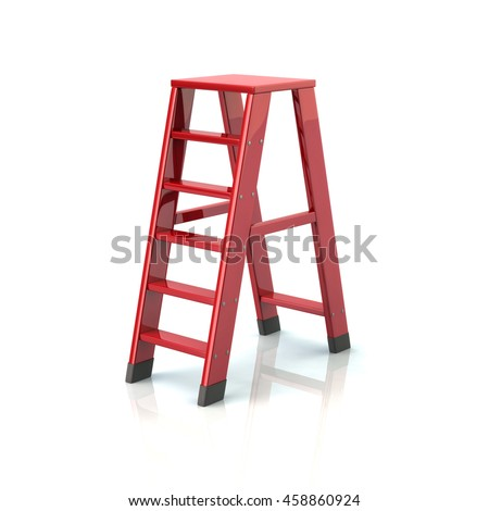 3d illustration of red ladder isolated on white background