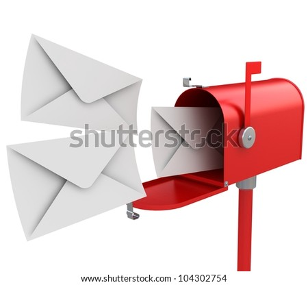 3d illustration of red mailbox with letters, isolated over white background - stock photo