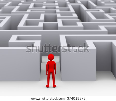 3d illustration of red man entering complicated endless puzzle maze.  3d rendering of human people character - stock photo