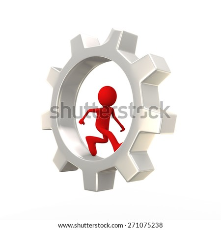 3d illustration of red man running inside rotating  big chrome metallic gear cogwheel. 3d human person character and white people